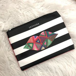 Sephora Striped Lips Graphic Cosmetic Zip Pouch